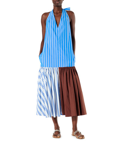 Vivian Stripe Deep V Halter Dress