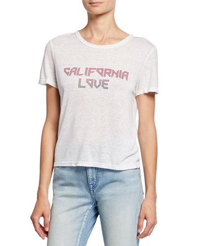California Love Short-Sleeve Linen Slogan Tee