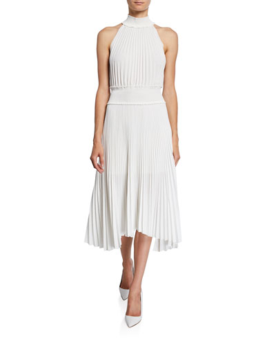 Renzo B High-Neck Pleated Midi Dress