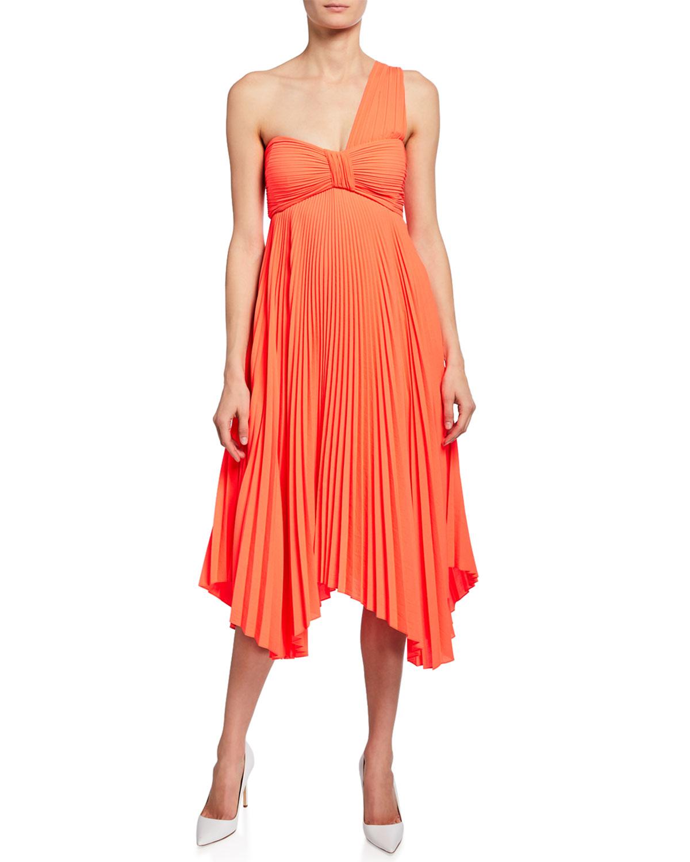 A.l.c Dresses MARBURY ONE-SHOULDER PLEATED HANDKERCHIEF DRESS