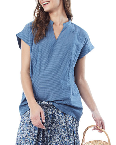 Maternity/Nursing Carrie Striped V-Neck Short-Sleeve Blouse