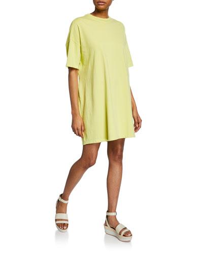 Crewneck Short-Sleeve Elastic-Back Tee Dress