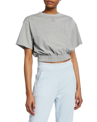 Short-Sleeve Cropped Elastic-Hem Tee