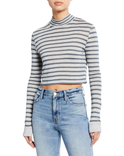 Striped Slub Mock-Neck Crop Top