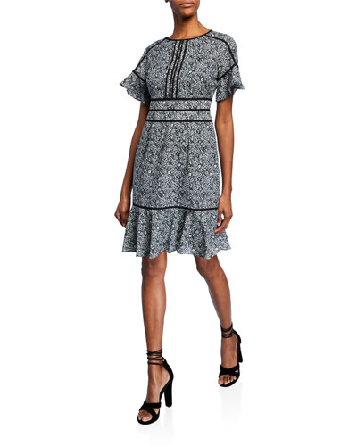 Printed Short-Sleeve Fit-&-Flare Dress