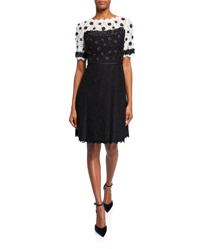 Colorblock Fit-&-Flare Lace Dress w/ Floral Applique