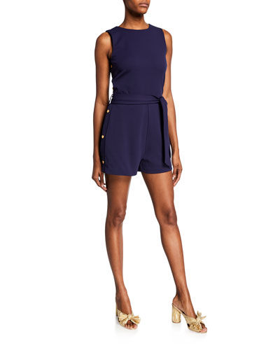 Crewneck Sleeveless Side-Snap Romper
