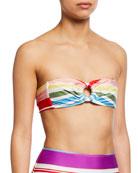 Agua de Coco Striped Bandeau Bikini Top and