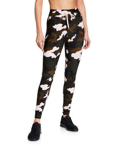 Forest Camo-Print Midi Yoga Pants
