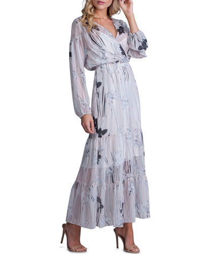 b66b84e17708 Quick Look. A La Plage · Striped Floral-Print Long-Sleeve Tiered Maxi Dress