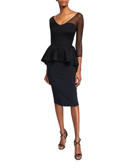 Chiara Boni La Petite Robe Arquette Illusion 3/4-Sleeve Peplum Cocktail Dress