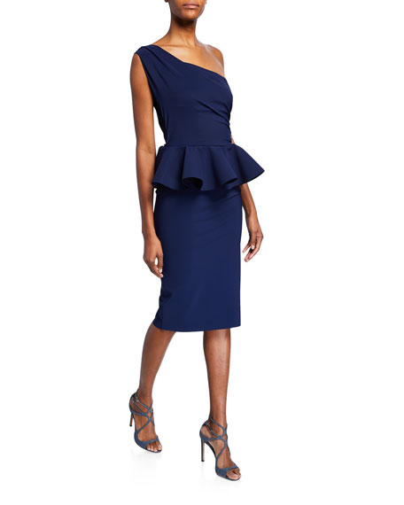 Chiara Boni La Petite Robe Okoye One-Shoulder Sleeveless Peplum Cocktail Dress