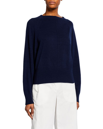 Crewneck Center-Seam Raglan-Sleeve Cashmere Top