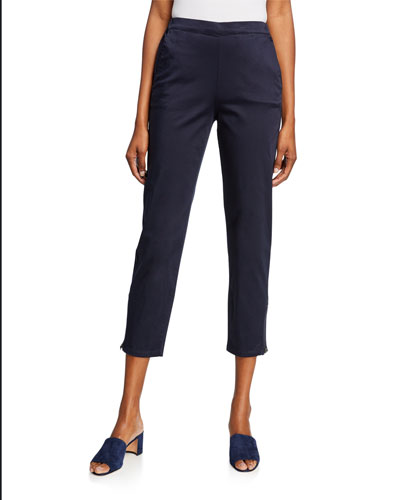 Padme Stretch-Cotton Slim-Fit Cropped Trousers