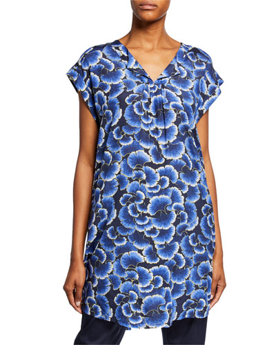Hadeen Printed A-Shape Short-Sleeve Tunic