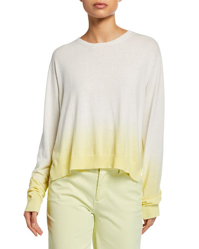 Dip-Dye Ombre Crewneck Long-Sleeve Boxy Sweater