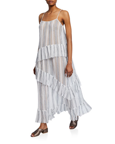 Striped Spaghetti-Strap Cotton Gauze Ruffle Maxi Dress