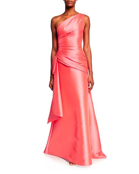 Theia One-Shoulder Sleeveless Draped-Bodice Gown w/ Cascading Ruffle
