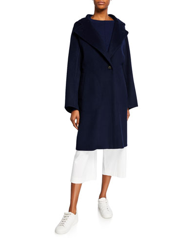One-Button Hooded Wool Coat