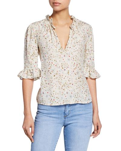 Vivianna Floral-Print Half-Sleeve Silk Top