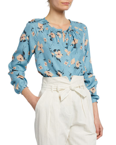 Daniella Button-Front Silk Floral Top