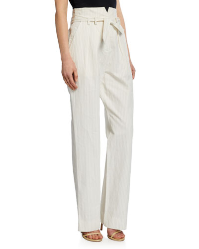 Pinstripe Linen Belted Pants