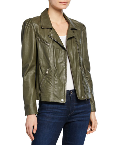 Leather Biker Jacket with Puff Sleeves