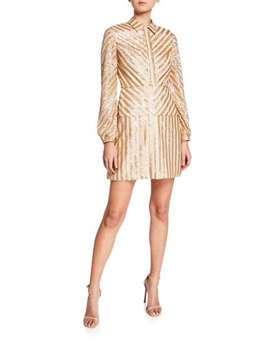 Sequin Stripe Long-Sleeve Cocktail Dress
