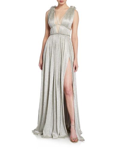 Plisse Metallic Plunging Maxi Dress