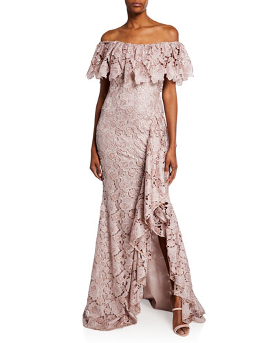 Off-the-Shoulder Short-Sleeve Floral Lace Ruffle Gown