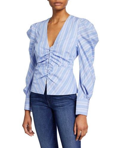 5fc11402 Quick Look. Jonathan Simkhai · Ruched Oxford Striped V-Neck Top