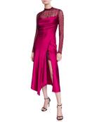 Jonathan Simkhai Sateen Lingerie Lace Underlay Long-Sleeve Midi