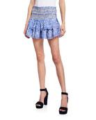 LoveShackFancy Mira Smocked Mini Ruffle Skirt