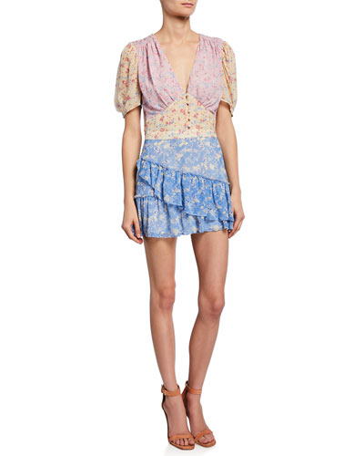 Bea Colorblock Floral Silk Short Dress