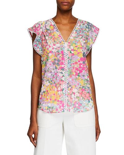 floral dots burnout cap-sleeve top
