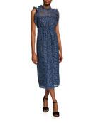 kate spade new york sleeveless floral-lace ruffle dress