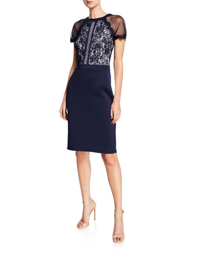 c24b286a6c0 Quick Look. Tadashi Shoji · Short-Sleeve Lace   Neoprene Cocktail Dress.  Available in Navy