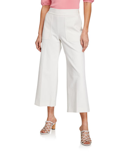 twill stretch-cotton cropped flare pants