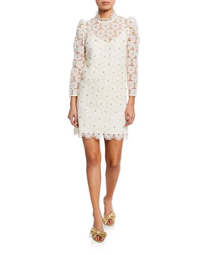 embellished floral-lace mock-neck bracelet-sleeve mini dress