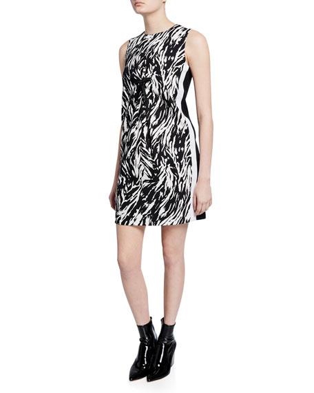 No. 21 Zebra-Print Sleeveless Short Shift Dress