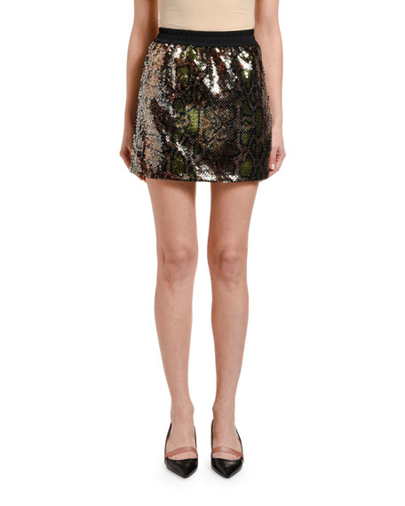 No. 21 Sequined Python Mini Skirt