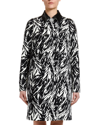 Animal-Print Long Coat with Vinyl Collar