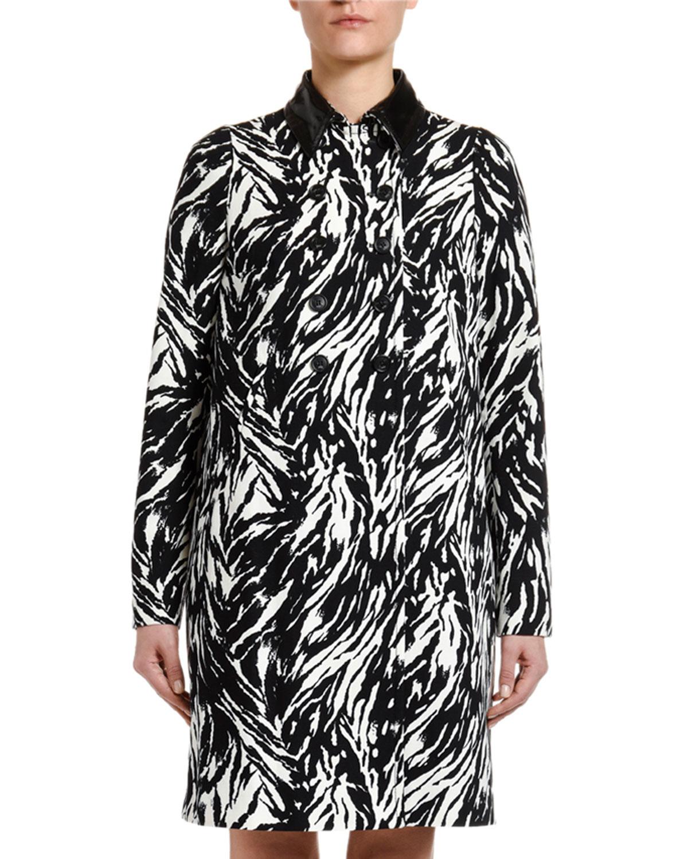 N°21 Coats ANIMAL-PRINT LONG COAT WITH VINYL COLLAR