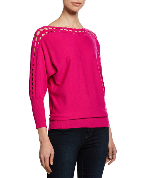 Milly Plus Size Diamond-Cut High-Neck 3/4-Sleeve Top