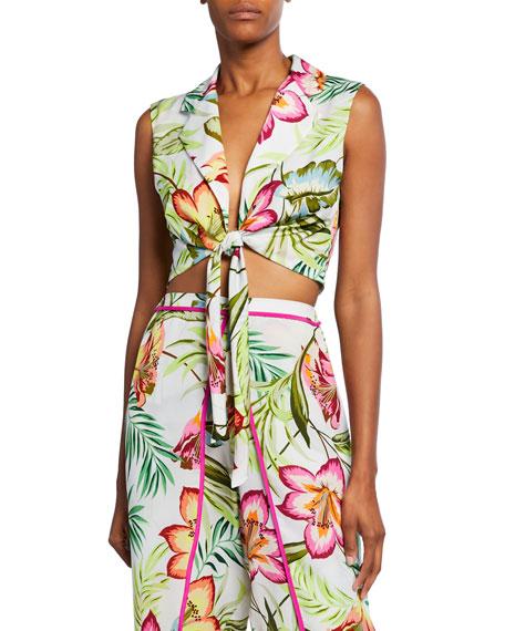 Le Superbe Skyline Floral-Print Tie-Front Crop Top