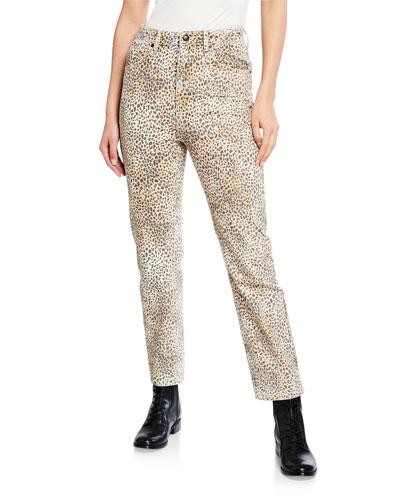 Cult Rise Micro Cheetah-Print Straight-Leg Jeans