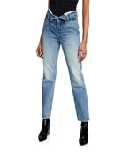 alexanderwang.t Cult High-Rise Straight Jeans w/ Flipped