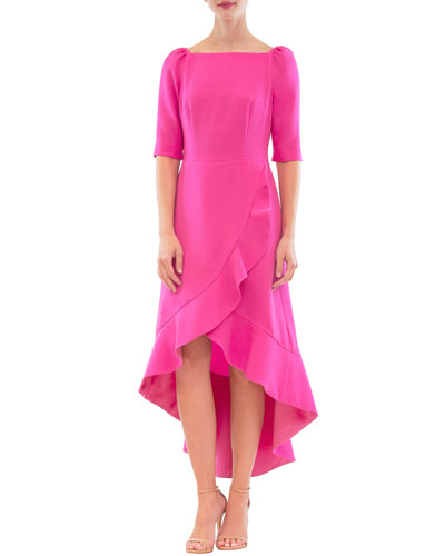 Ruffled High-Low Wrap Dress