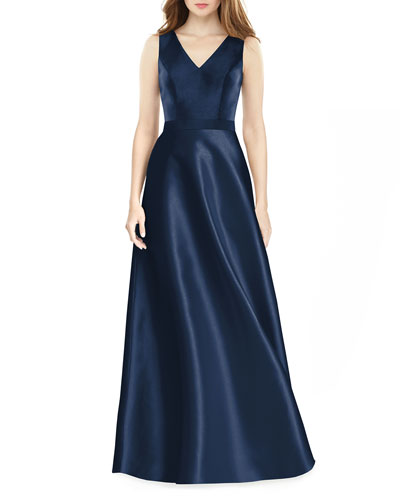 V-Neck Sleeveless A-Line Satin Gown