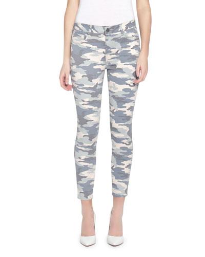 Ava Crop Skinny Camo-Print Jeans